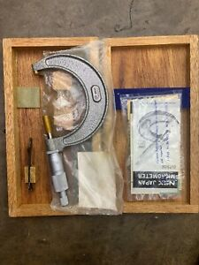 New Micrometer Nsk Japan 2 3 In Wooden Box Vintage