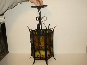 Antique 1920 S Spanish Revival Iron And Metal Amber Glass Hanging Light 1564
