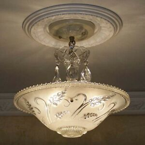 Vintage Ceiling Glass Light Lamp Fixture Chandelier Lights Antique 1 Of 2