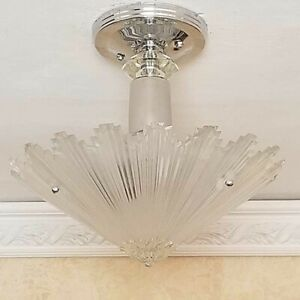 436b Vintage Art Deco Ceiling Light Lamp Fixture Glass Re Wired 1 Of 6