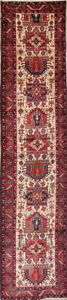 One Of A Kind Oversize Geometric Wool Heriz Persian Oriental Runner Rug 3x15