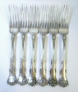 Set Of 6 Antique Silver Plated Dinner Forks By Rogers Letter B Monogram Ornate