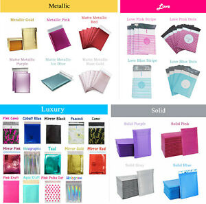 All Designs Poly Bubble Mailers Shipping Padded Bags Envelopes Metallic