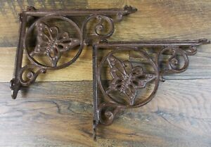 Set Of 2 Vintage Look 6 1 2 X 9 Cast Iron Butterfly Design Shelf Brackets