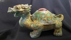 X Rare Tang Dyn Chinese Gilt Bronze Dragon Turtle Turquoise Red Agate Inlay