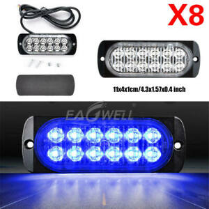 8pcs Blue 12 Led 12v 24v Car Strobe Light Emergency Warning Flashin Lamp Abs
