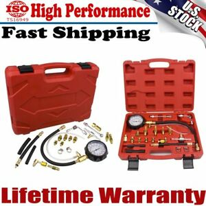 Universal Fuel Injection Gauge Pressure Tester Test Kit Car System Pump Tool New