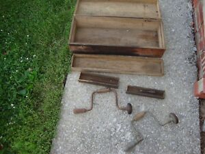 Vintage Hardware Wooden Carrying Tote Caddy Carpenter S Tool Box Primitive Lot