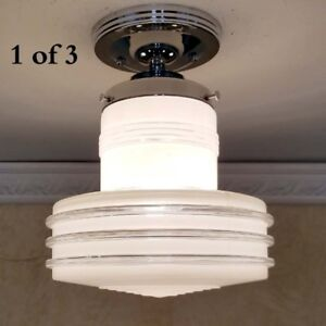 799 Vintage Ceiling Light Mid Century Lamp Fixture Glass Bath Hall Porch 1 Of 3