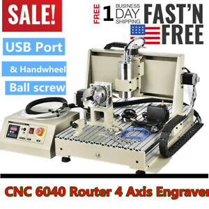 Cnc 6040 4 Axis Metal Milling Machine Engraving Router Ball Screw Handwheel