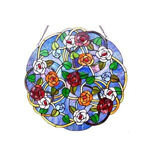 Tiffany Style Floral Roses Stained Cut Glass 24 Handcrafted Round Window Panel