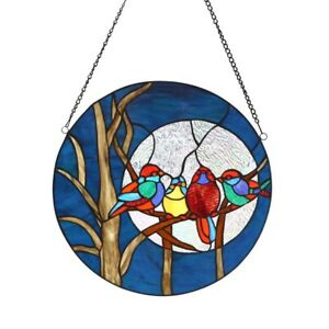 Stained Glass Birds Moon Window Panels 16 Diameter Round Tiffany Style Pair