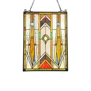 Tiffany Style Stained Glass Window Panels Mission Handcrafted 17 7 X 24 Pair