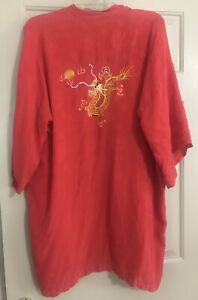Vintage Chinese Red Silk Robe With Embroidered Dragon