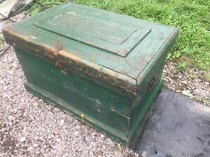 Vtg Antique Beth Steel Trunk Tool Chest Coffee Table Steampunk Carpenters