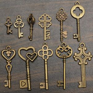 11pcs Set Antique Vintage Old Look Skeleton Keys Bronze Steampunk Pendants