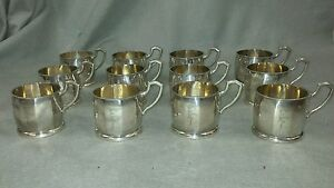 12 Arts Crafts Coin Silver 800 Hand Hammered Punch Cups European Hallmark