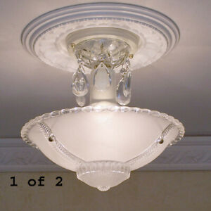 144b Vintage Ceiling Light Lamp Chandelier Fixture Glass Shade White 1 Of 2