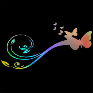 Personalized Butterfly Flower Sticker Car Laptop Home Bedroom Wall Vinyl Decal