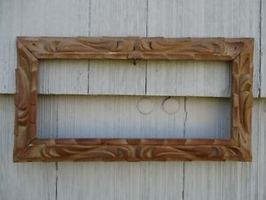 Old Vintage Carved Wood Mexico Picture Frame Fits 6 X 14