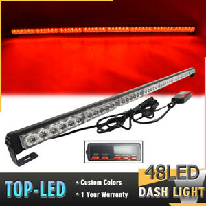 48 Led 47 Red Flash Traffic Advisor Safety Emergency Warn Top Strobe Light Bar
