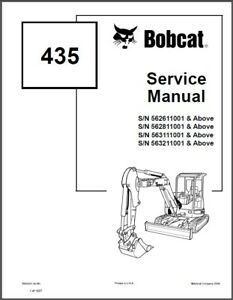 Bobcat 435 Compact Excavator Service Manual On A Cd