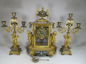 19th C French Chles Mt Bronze Champleve Clock Set M495