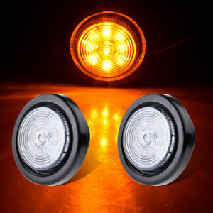 2pcs 2 5 Round Amber Led Rv Clearance Marker Lights 9led Sealed W Grommet Mount