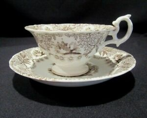 Antique Brown Transferware Tea Cup Teacup Church Castle Nice 1800 S
