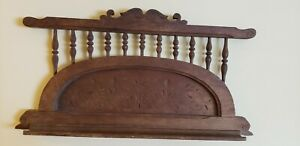 Antique Victorian Carved Wood Shelf Wall Hanging 12 X23 Corbel Trundle Flowers