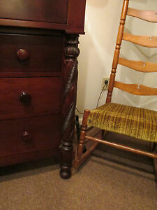S38 Antique Cherry Wood Empire Chest Dresser Carved Columns 4 Over 3 Drawers