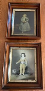 Two Victorian Prints Of Children In Beautiful Antique Picture Frames