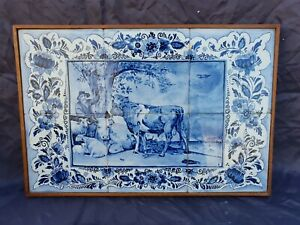 Dutch Delft Blue Framed Set Of 6 Tiles Handpainted Nice