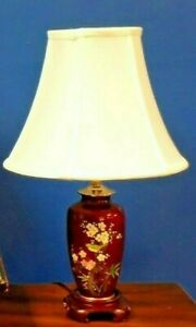 Exquisite Pair Of Chinese Japanese Porcelain Cloisonne Vase Lamps 20 Inches Tall