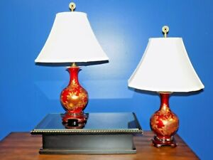 Exquisite Pair Of Chinese Japanese Porcelain Cloisonne Vase Lamps 24 Inches Tall