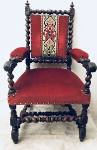 Antique English Oak Carved Barley Twist Throne Fireside Velvet Arm Chair C 1875