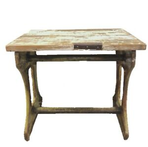 Antique Vtg Industrial Reclaimed Salvage Metal Base Wood Top Table Side Table