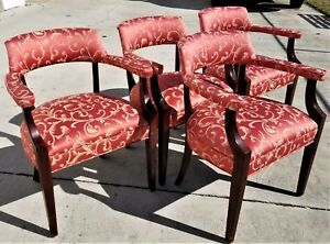Set Of 4 Baker Furniture Modern Mahogany Newly Upholstered Dining Armchairs