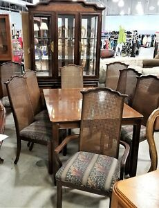 10 Pc Vintage Mahogany Universal Furniture Asian Chinese Chinoiserie Dining Set