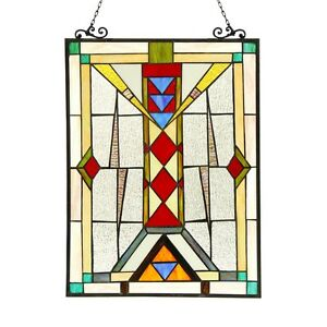 Pair Stained Glass Tiffany Style Window Panels Modern Mission Design 17 5 X 25