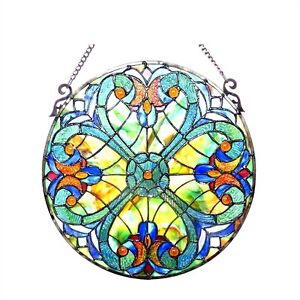 Tiffany Style Stained Glass 20 Diameter Round Window Panel Last One This Price