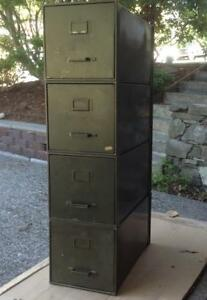 Vintage Four Military Stacking Metal File Cabinets