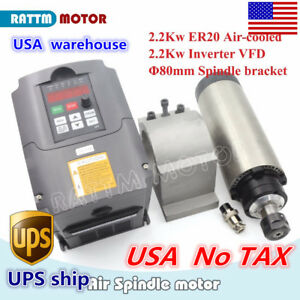usa Stock 2 2kw Air Cooled Cnc Spindle Motor Er20 inverter Vfd 220v 80mm Clamp