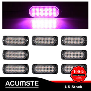 Us Purple 12led 36w Strobe Light Bar Car Truck Flash Warning Emergency Signal X8