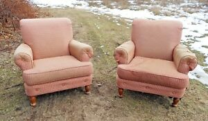 Large Pair Of Mid Century Overstuffed English Style Library Pub Armchairs