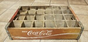 Vintage Coca Cola Wooden Crate 24 Dividers 1970 Charleston SC