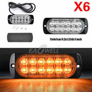 6pcs Yellow Amber 12 Led 12v 24v Car Strobe Light Emergency Warning Flash Lamp