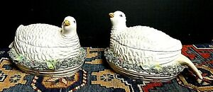 Antique Pair Covered Italian Faience Pottery Partridge Bird Tureen Dish Signed