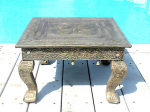 Spectacular Antique Repousse Brass Copper Covered Accent Table Ornate Claw Feet
