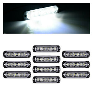 10x 4 Led Flashing Strobe Light Bar Truck Car Beacon Light White Signal Light